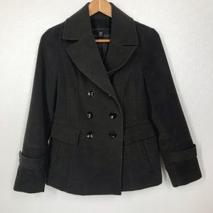 Attention Double Breasted Charcoal Pea Coat